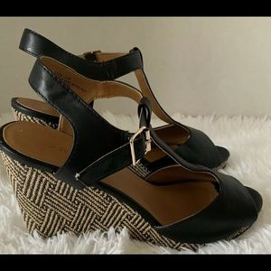 Torrid Black Cream Buckle Sandal Chunky Wedge 10W